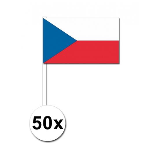 50 Tsjechische zwaaivlaggetjes 12 x 24 cm