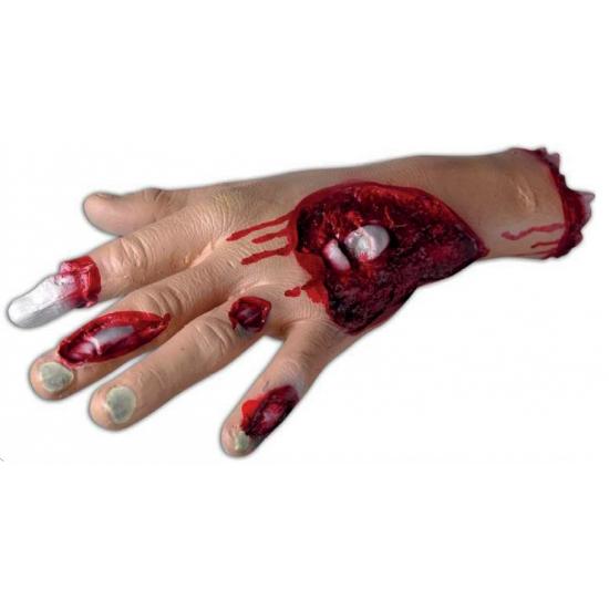 Bloederige hand met wond