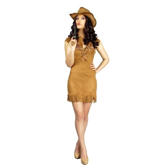Cowboy jurk Nancy voor dames (bron: Pruiken-winkel)