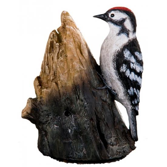 Decoratie vogel grote bonte specht 12,5 cm