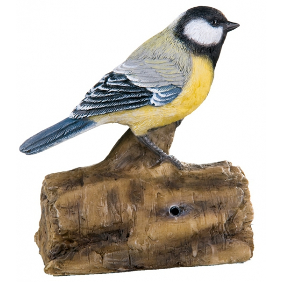 Decoratie vogel koolmees 12,5 cm
