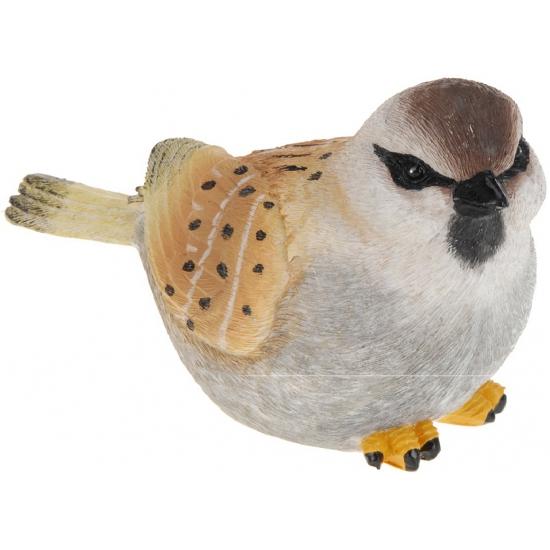 Decoratie vogeltje Mus 17 cm