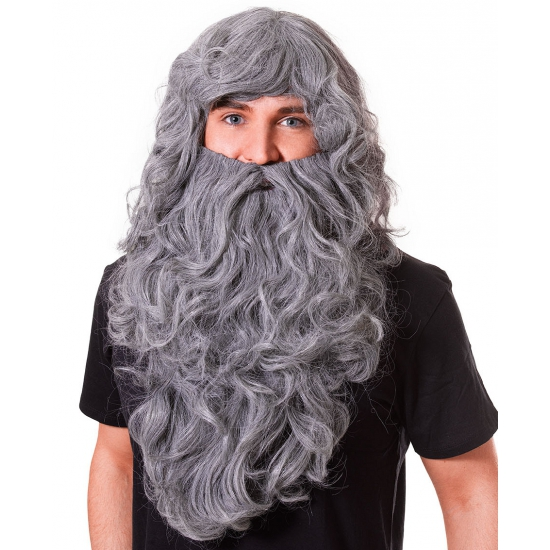 Grote grijze baard met pruik