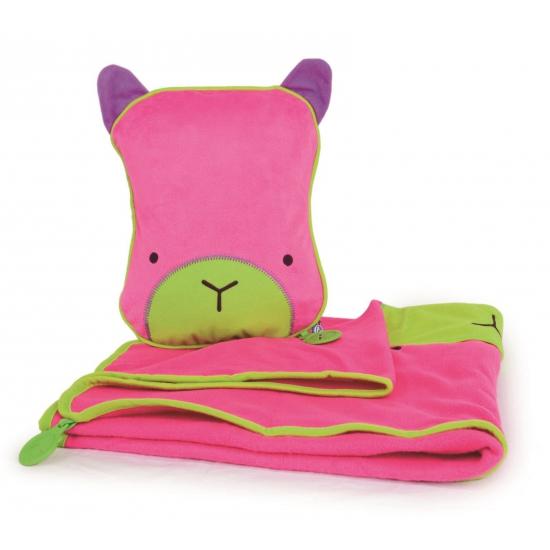Kinder reisset deken en kussentje roze (bron: Pruiken-winkel)