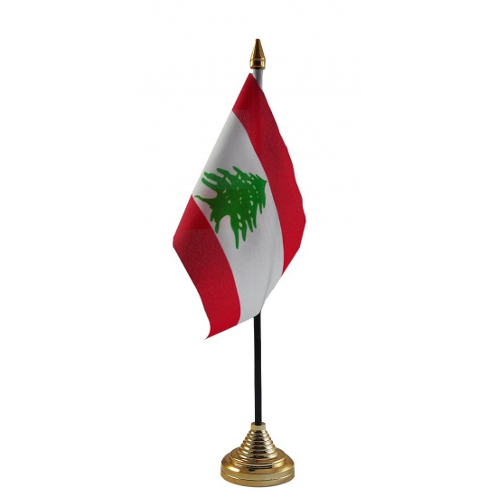 Libanon tafelvlaggetje inclusief standaard