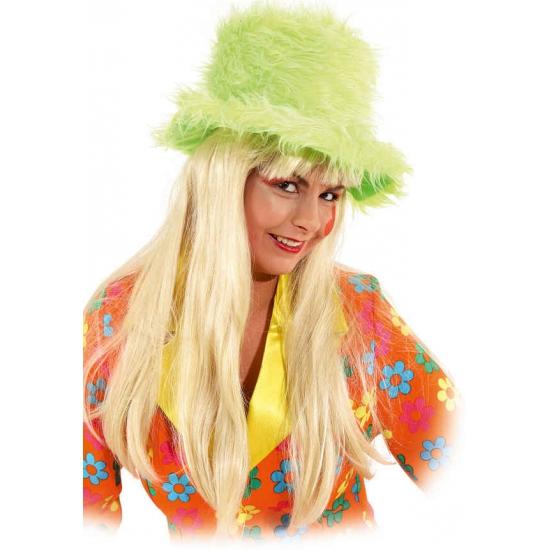 Neon groene pluche hoed grote hoge hoed van felgroen pluche