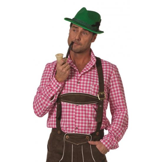 Oktoberfest Roze/witte Tiroler blouse lange mouw