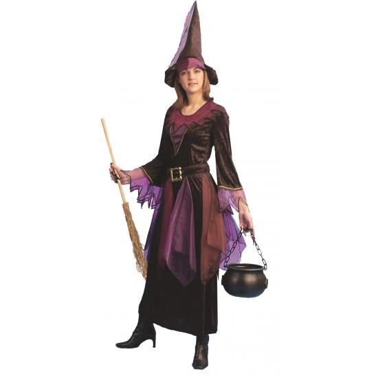 Paarse heksen jurk inclusief hoed (bron: Pruiken-winkel)