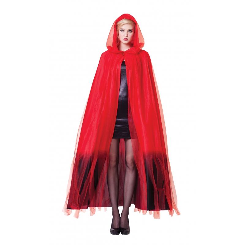 Rood/zwarte ombre cape met capuchon
