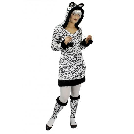 Zebra jurkje met capuchon en beenwarmers