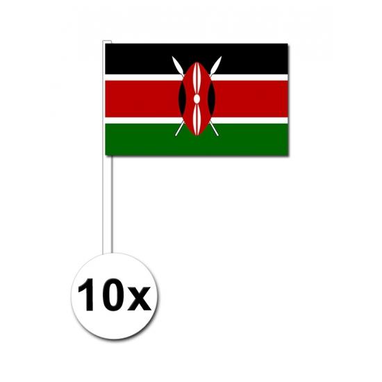10 zwaaivlaggetjes Kenia 12 x 24 cm