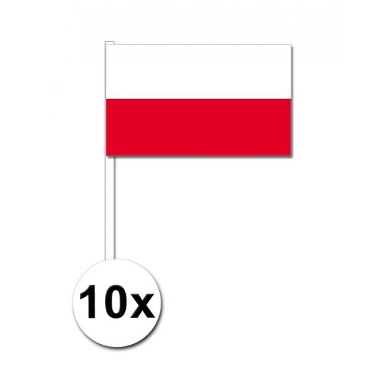 Landen versiering en vlaggen 10 zwaaivlaggetjes Polen 12 x 24 cm