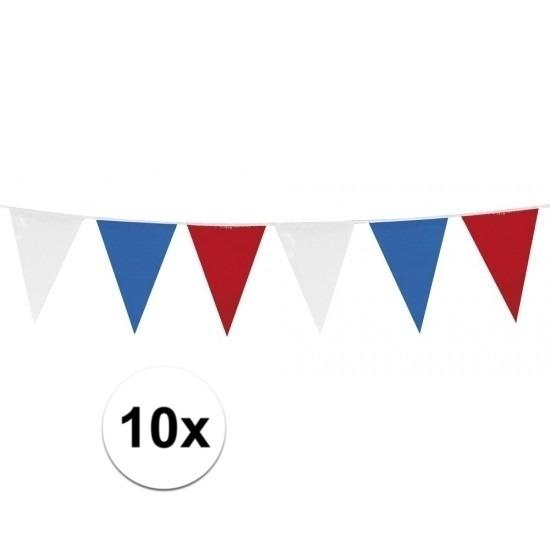Landen versiering en vlaggen Geen 10x Vlaggenlijnen Holland rood wit blauw