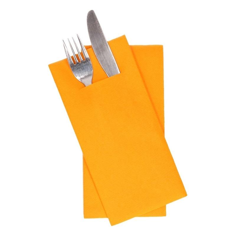 12x oranje servetten met bestek gleuf 40 cm
