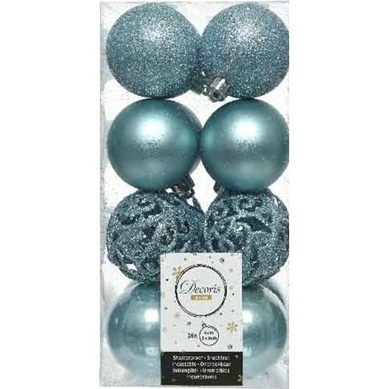 16x IJsblauwe kerstballen 6 cm kunststof mix
