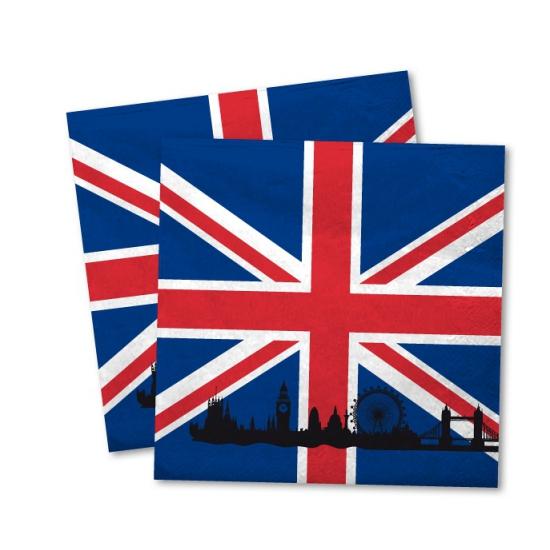 20x Engeland vlag servetten 33 x 33 cm