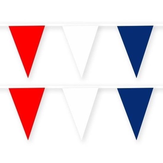 2x Frankrijk stoffen vlaggenlijnen-slingers 10 meter van katoen