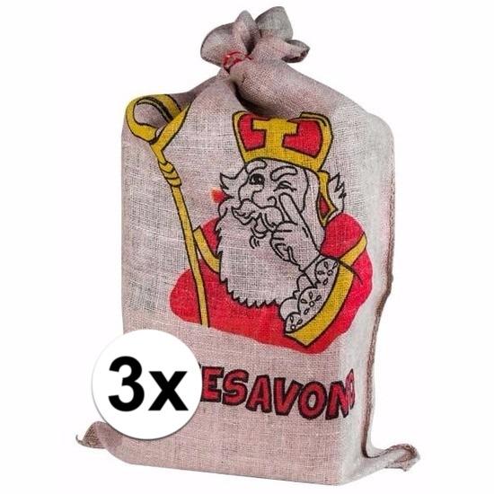 3 Jute zakken van Sinterklaas 60 x 102 cm