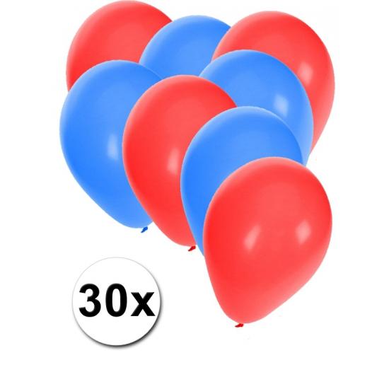 Shoppartners 30x Ballonnen in Noorse kleuren Landen versiering en vlaggen