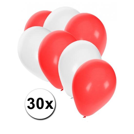 30x Ballonnen in Poolse kleuren Shoppartners Landen versiering en vlaggen