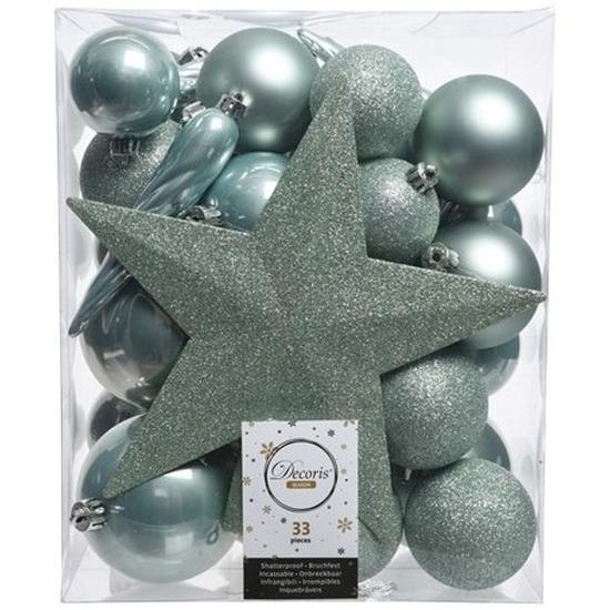 33x Mintgroene kerstballen met ster piek 5-6-8 cm kunststof mix