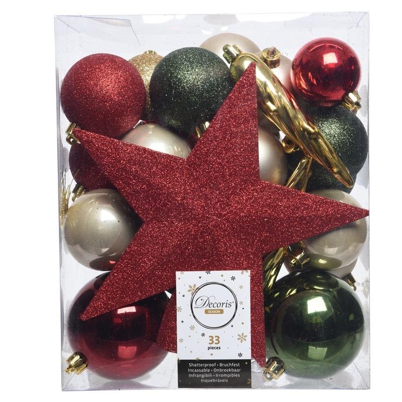33x Rode/groene/champagne kerstballen met ster piek 5-6-8 cm kun