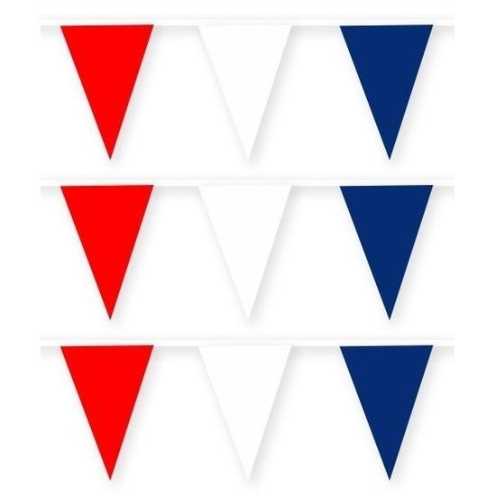 3x Frankrijk stoffen vlaggenlijnen-slingers 10 meter van katoen