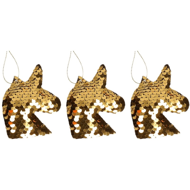 3x Kersthangers figuurtjes eenhoorn goud met pailletten 7 cm
