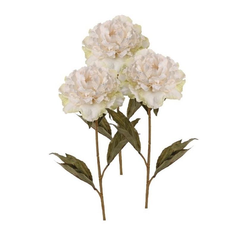 3x Kunstbloemen pioenroos wit 67 cm