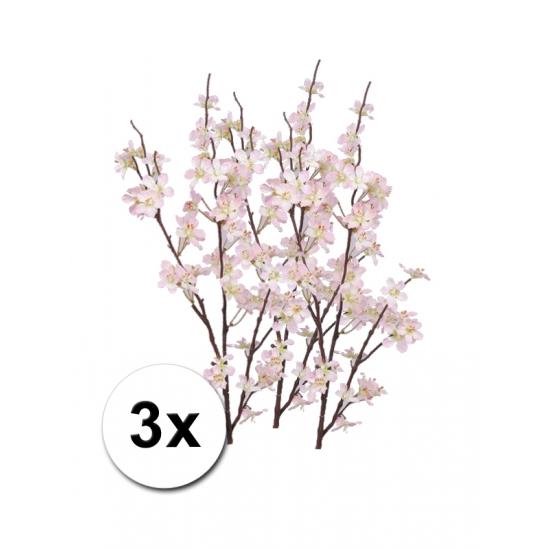 3x roze appelbloesem kunstbloem takken 84 cm