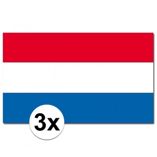 Geen 3x Vlaggen Nederland 90 x 150 cm Landen versiering en vlaggen
