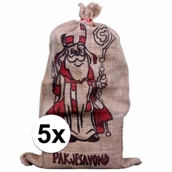 5x Jute zakken voor Sinterklaas 60 x 102 cm
