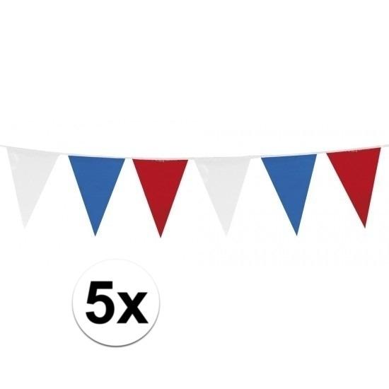 Landen versiering en vlaggen 5x Vlaggenlijnen Holland rood wit blauw