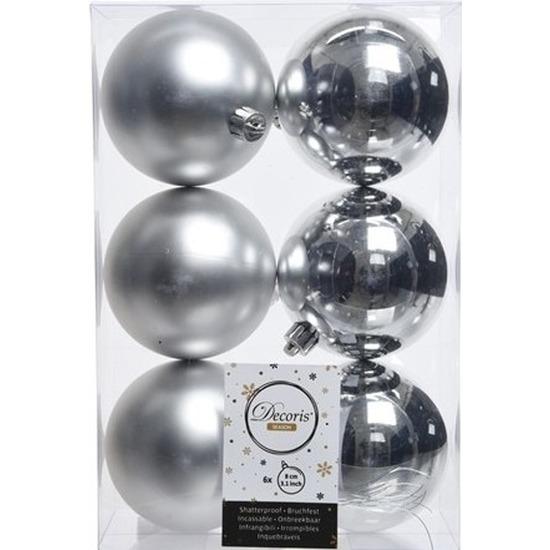 6x Zilveren kerstballen 8 cm kunststof mat/glans