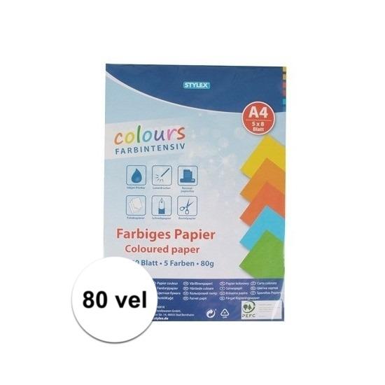 80 vellen Gekleurd A4 papier 80 gram