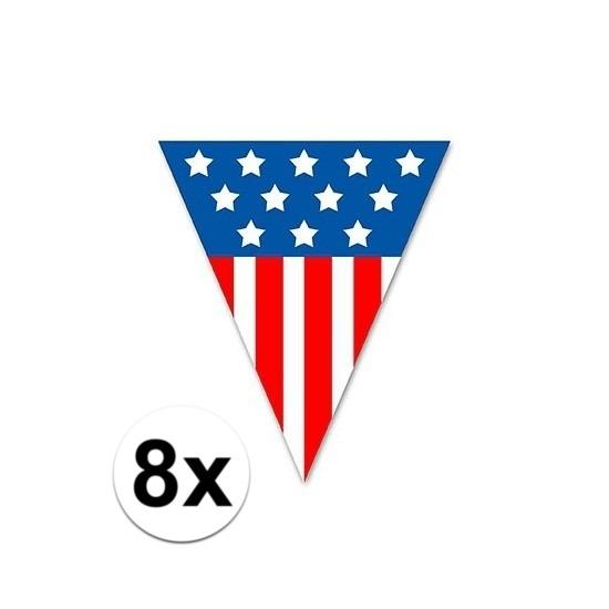Landen versiering en vlaggen Geen 8x Vlaggenlijn vlaggetjes USA 5 meter