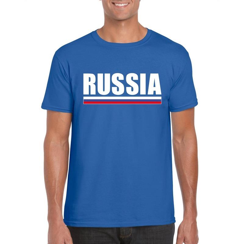 Landen versiering en vlaggen Shoppartners Blauw Rusland supporter t shirt voor heren