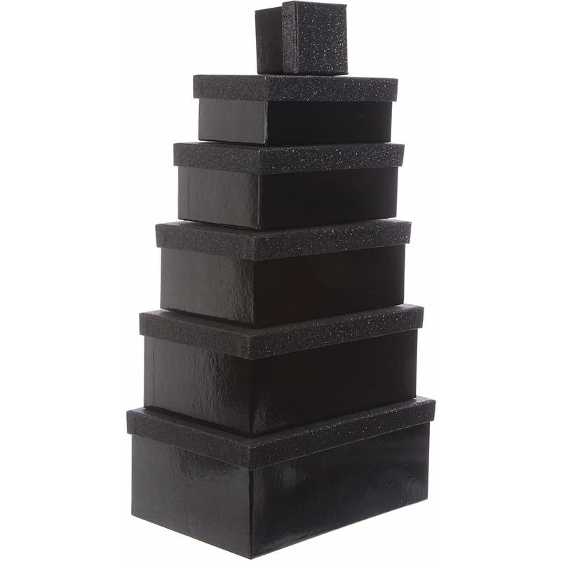 Cadeau gift box set zwart glitter 7 x 8 cm en oranje lint