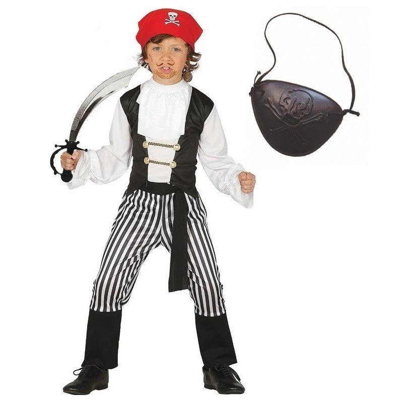 Compleet piraten kostuum maat 110-116 voor kinderen