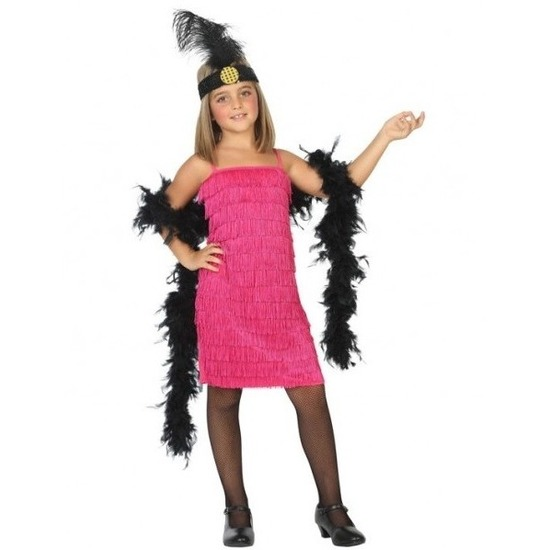 c5479d2aa307b2 Flapper franje verkleed kostuum jurkje roze vo € 15.95. Bij   feestartikelen-winkel.nl