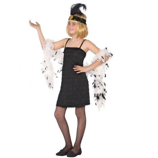 29904d5c5ee297 Flapper franje verkleed kostuum jurkje zwart v € 15.95. Bij   feestartikelen-winkel.nl