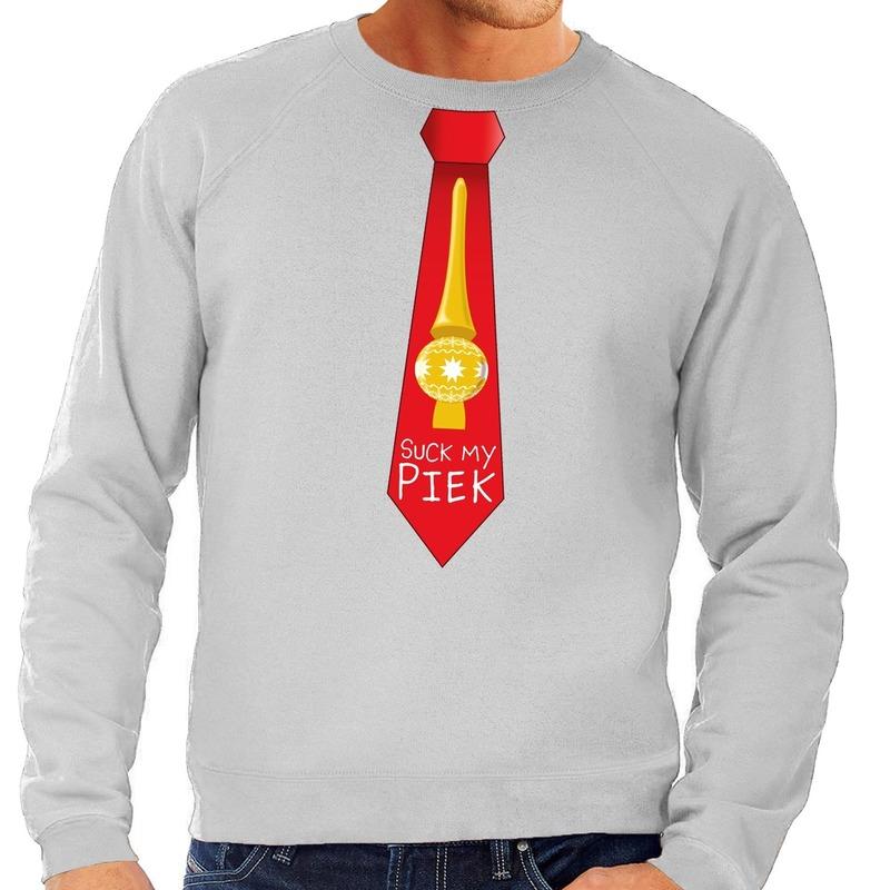 Foute kersttrui stropdas suck my piek grijs voor heren