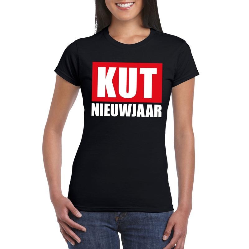 Foute oud en nieuw t-shirt kut nieuwjaar zwart voor dames