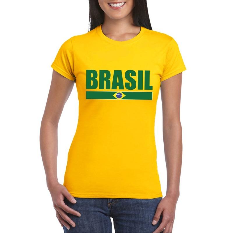 Geel Brazilie supporter t-shirt voor dames