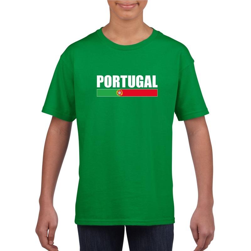 Groen Portugal supporter t shirt voor kinderen Shoppartners Landen versiering en vlaggen