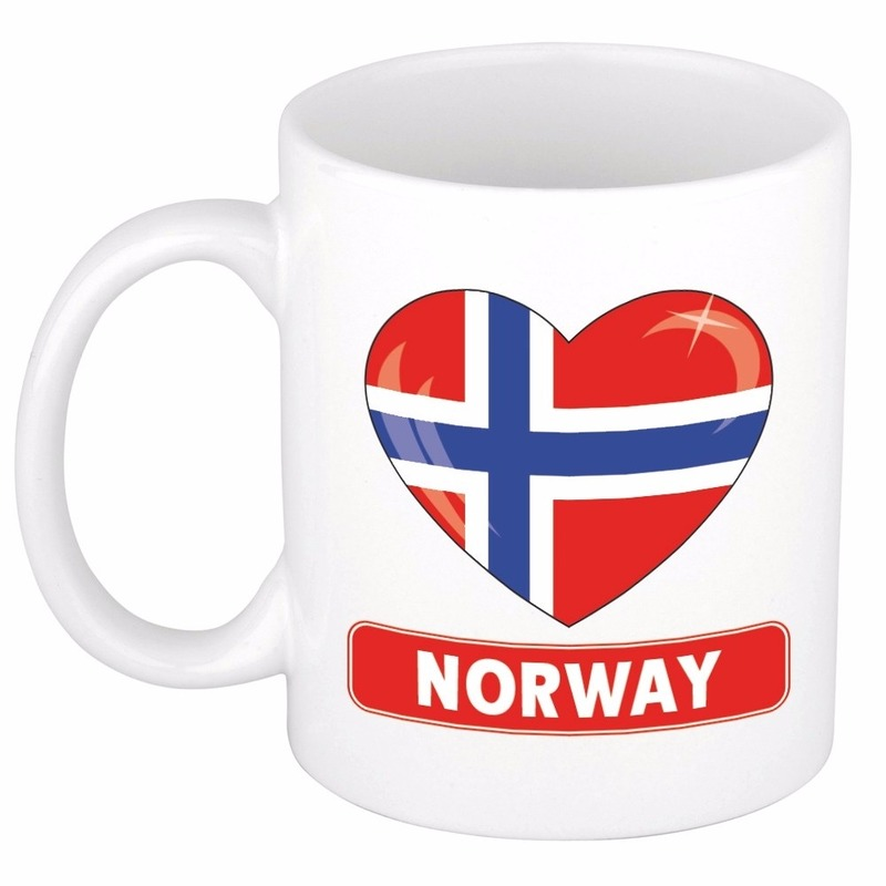 Landen versiering en vlaggen Shoppartners Hartje Noorwegen mok beker 300 ml