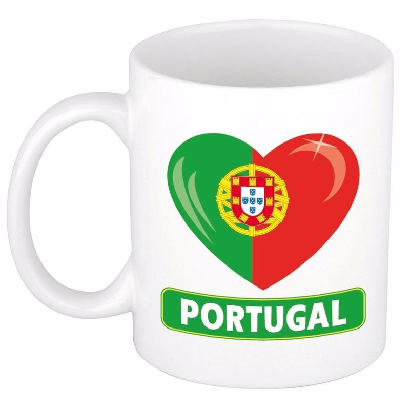 Landen versiering en vlaggen Shoppartners Hartje Portugal mok beker 300 ml