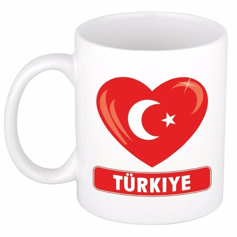Landen versiering en vlaggen Hartje Turkije mok beker 300 ml