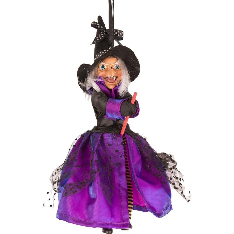 Halloween Decoratie Bestellen.Heks Hangdecoratie Pop Paars Zwart 25 Cm Halloween