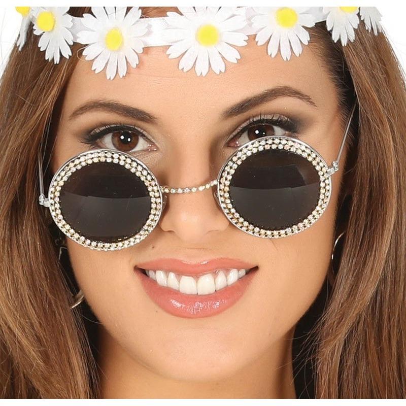 8762db91576339 Hippie flower power verkleed zonnebril met ronde glazen in de ...